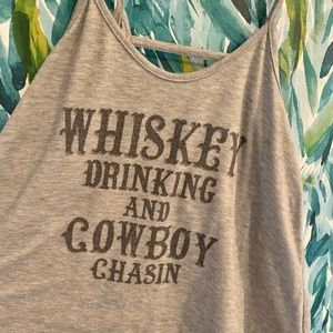Whiskey drinking and cowboy chasin graphic tank